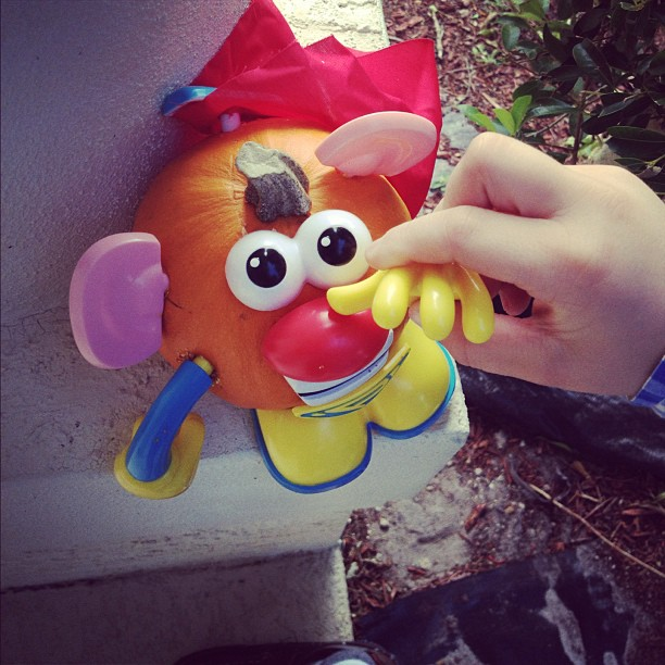 My 2 year old absolutely rocked his mr. Potato head pumpkin..