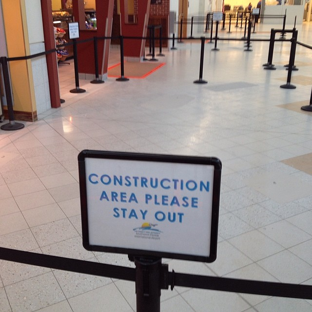 Please stay out of our empty construction space as we build our air castle made out of unicorn tears and the feathers of a chupacabra..