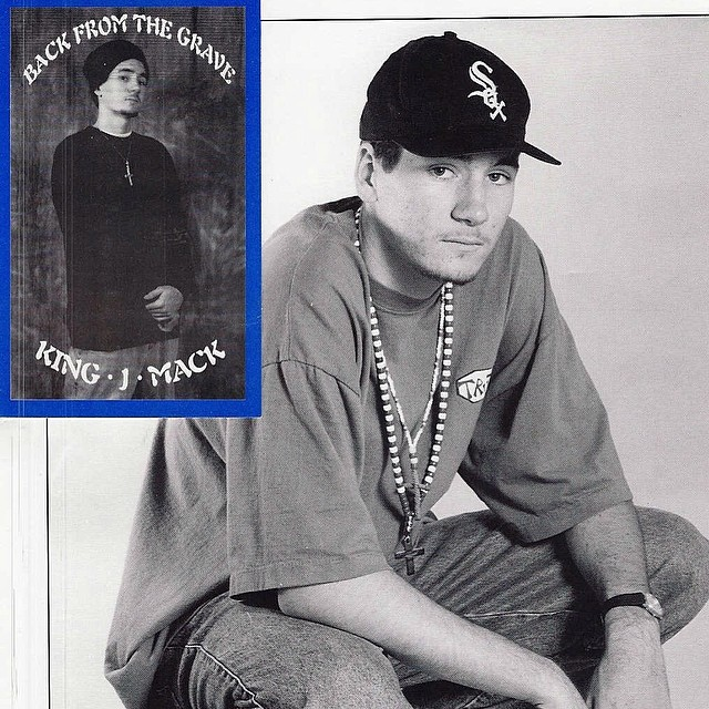 "#throwbackthursday my first EP release (& first rap name & promo pic) don't know why I had a white sox hat on… But the skullie/sweatshirt/beads/SnapBack combo is funny cuz that's what dudes are wearing again all these years later. FYI the ""kj"" part of my name comes from that original terrible rap name ""king J-mack"""