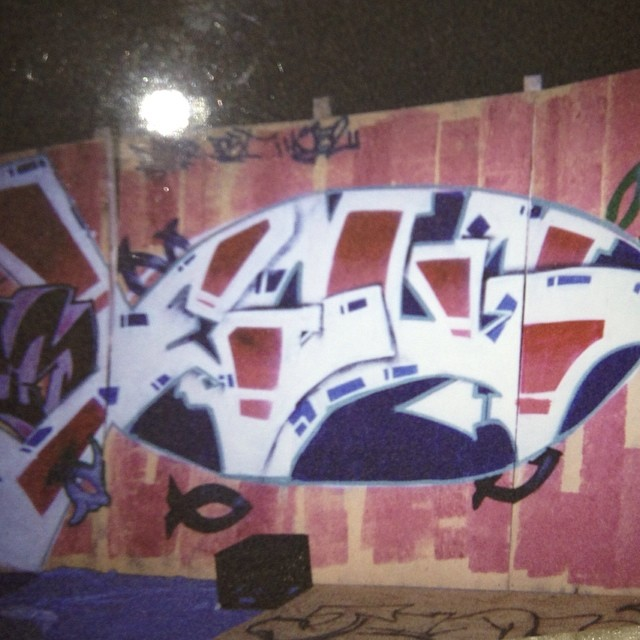 """Found an old graff piece I did with Raimz back in the day.. It says """"Jesus"""" framed in a reverse icthus fish.. Can u see it?"""