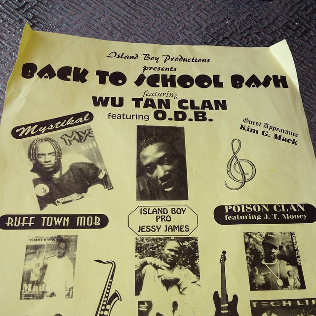"""#throwbackthursday cleaning out my garage & found an old flyer from back when I opened up for Wu-tang & Mystikal. The best part is when they spelled my name as """"Kim G. mack (I was King J-mack back then) & Wu-Tang was the """"Wu-tan clan"""" #hoodflyers #closeenoughiguess"""