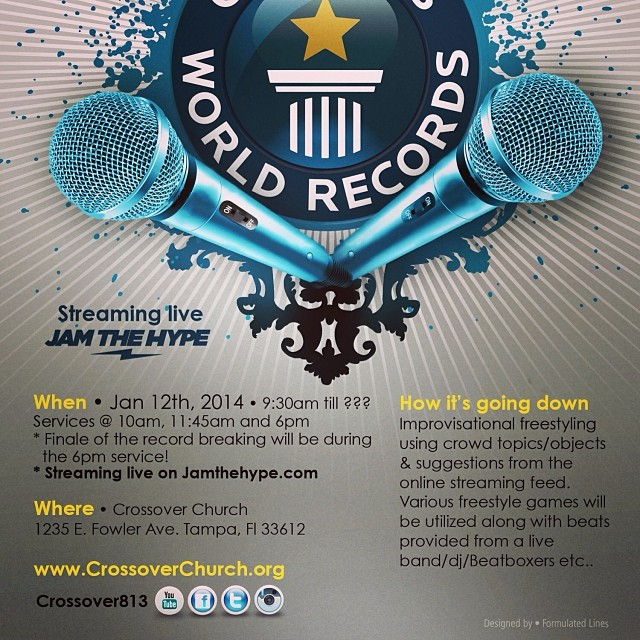 Watch us break the world record for longest team freestyle 1.12.14 live @ www.jamthehype.com see pic for more details..