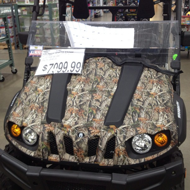 What's the point of camo. On this Util. Vehicle? It's not like you don't have a LOUD ENGINE under the hood.. (at BJ's Wholesale Club)