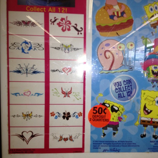 Now they are selling temporary tramp stamp tats for little girls right next to sponge bob.. Not cool. (at Laundromat)