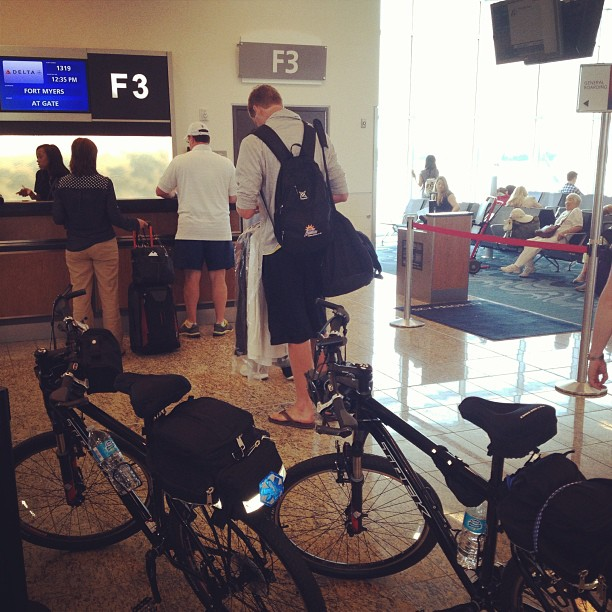 """I guess I missed the memo on """"natl. ride ur bike to the airport day"""" (at Concourse F (Maynard H. Jackson International Terminal))"""