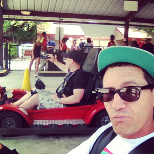 About to crush @jonmichasumrall in go-carts? Are u real? Yes u are really about to get crushed.. (at On Broadway)