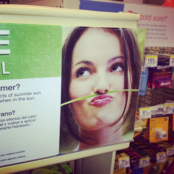 Visual proof that duck face plus grass blades equals bad idea.. (at Walgreens)