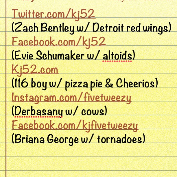 Got my topics: Detroit red wings/tornadoes/cows/pizzapie & Cheerios/altoids