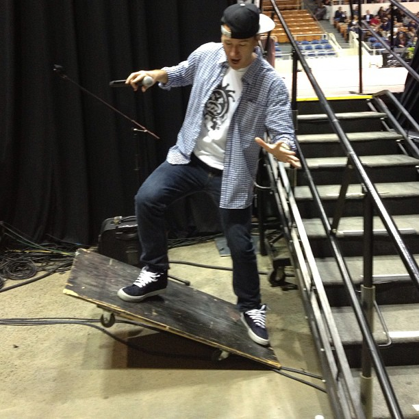 Well be auctioning off the new kj52 longboard.. What it lacks in usability it makes up for in wood. (at Bojangles' Coliseum)