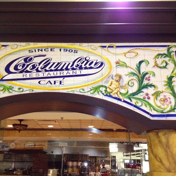 """For those who may or may not know my dad did the mural tile work on the infamous Columbia restaurant in ybor city fl .. I'm @ the airport location version & they """"attempted"""" to reduplicate his work.. Your an original pops! (at Columbia Restaurant Café)"""