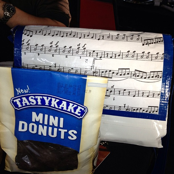 Yeah so umm I was just given a duct-tape man bag w/ donuts & a wallet.. (Best fans ever!) (at Six Flags Over Texas)