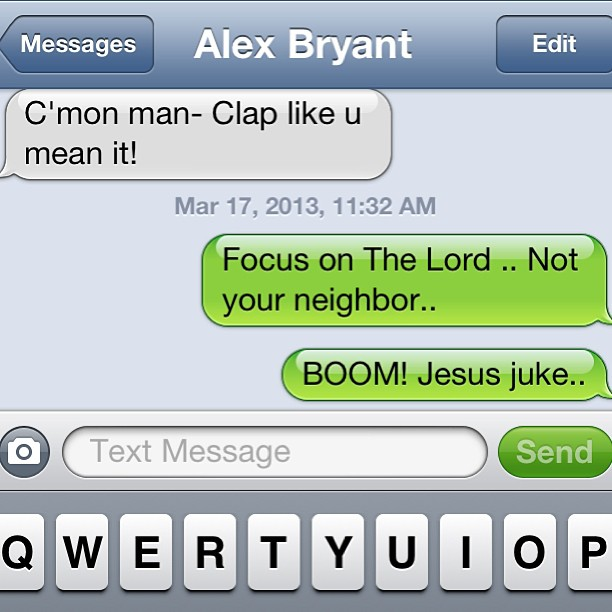 Totally just rocked @alexbryant in church with a text bomb Jesus juke.. (at First Assembly Of God)