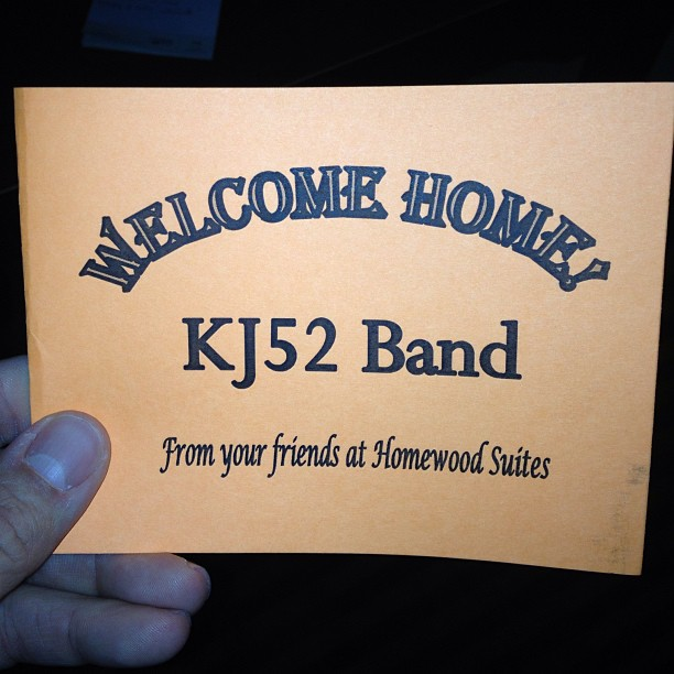 Well apparently I'm a band now.. Perhaps kj & the 52's (a doo-wop group maybe?) (at Homewood Suites)