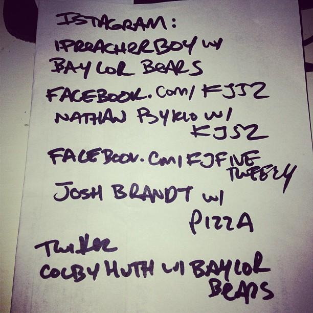 Got my topics: Baylor bears/pizza/kj52/Baylor bears