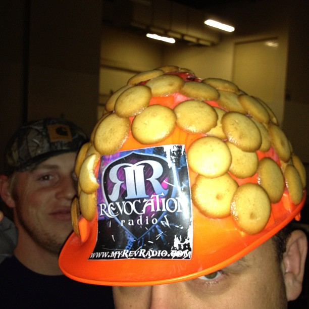 Vanilla wafers on a helmet? Sure why not?