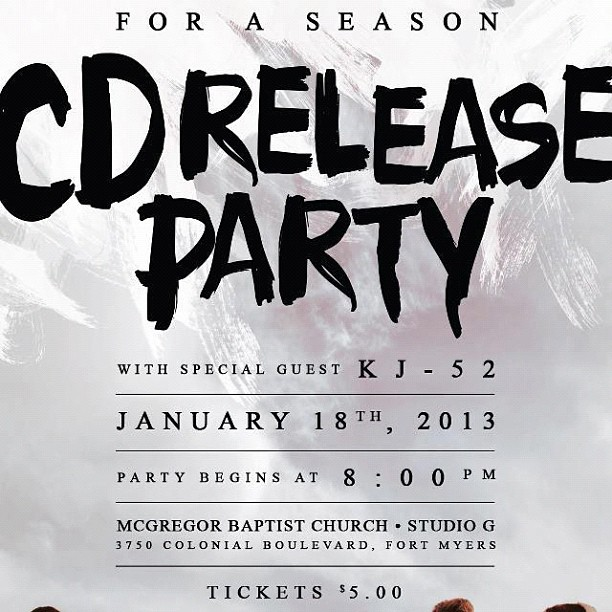 @foraseasonmusic CD release party tomorrow! Featuring me and it's only five dollars…