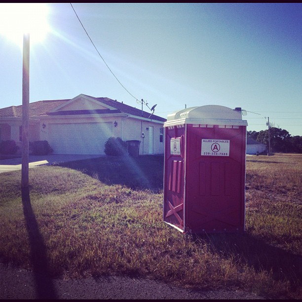 This house comes complete with indoor plumbing & an outdoor bathroom..