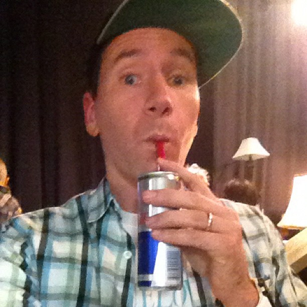 Backstage sipping redbull with a twizzler living the dream.. YOLO.