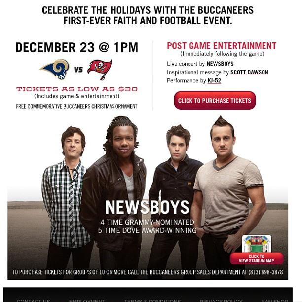 Buccaneers + newsboys +kj52 = awesome! Dec 23 http://web2.buccaneers.com/tickets/faithandfootball/