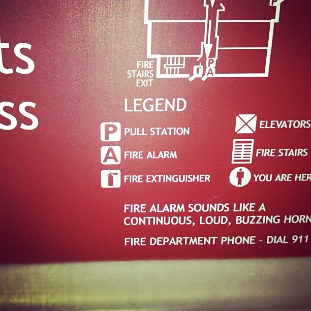 """Fire alarm map says: """"alarm sounds like loud buzzing horn.."""" Got ya.. I thought they usually sounded like a beluga whale getting strangled by a tuba…"""