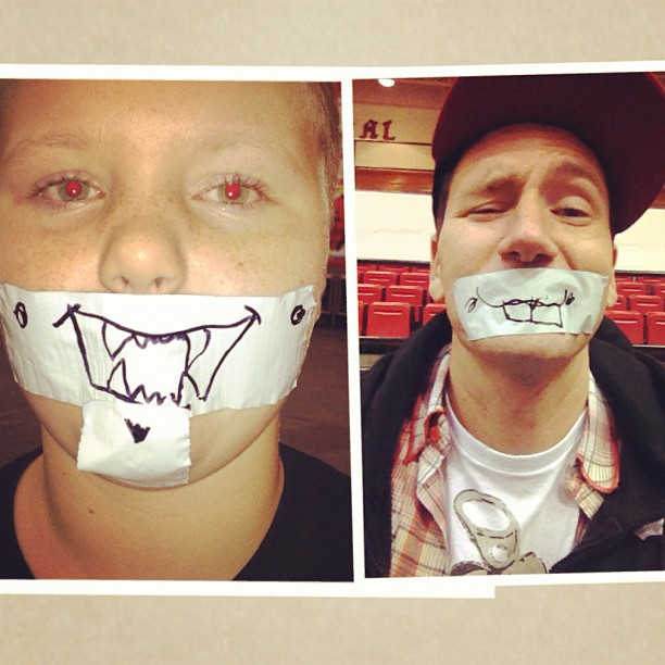 What's the best thing to do in KY on a thurs night? Draw fangs/teeth on your face.. (at Sheldon Clark High School)