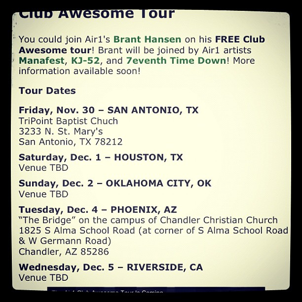 Club awesome tour is coming to your city in December and it's free! Check the picture for details