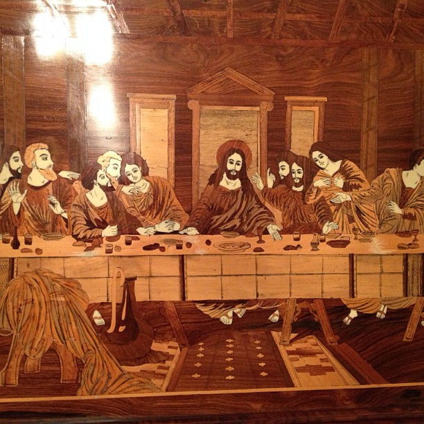 Very nice last supper woodcut i saw @ the church last night.. But does it seem like Davinci attempted to draw 2 women into the original painting?