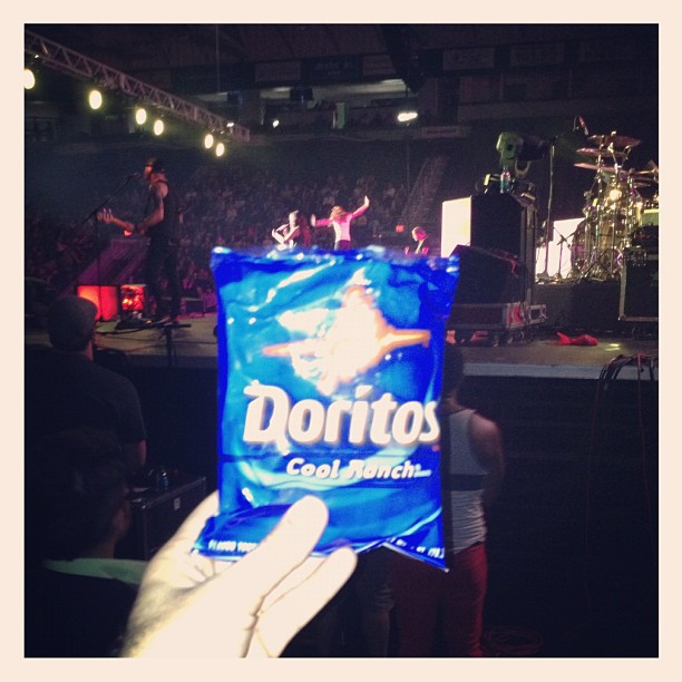 "Doritos/my wife/ @itsbrittnicole concert .. I officially just made this date ""dinner theater"". (Taken with Instagram at Germain Arena)"