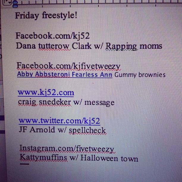 Got my topics: rapping moms/gummy brownies/message/spellcheck/Halloween town (Taken with Instagram at Temple Baptist Church)