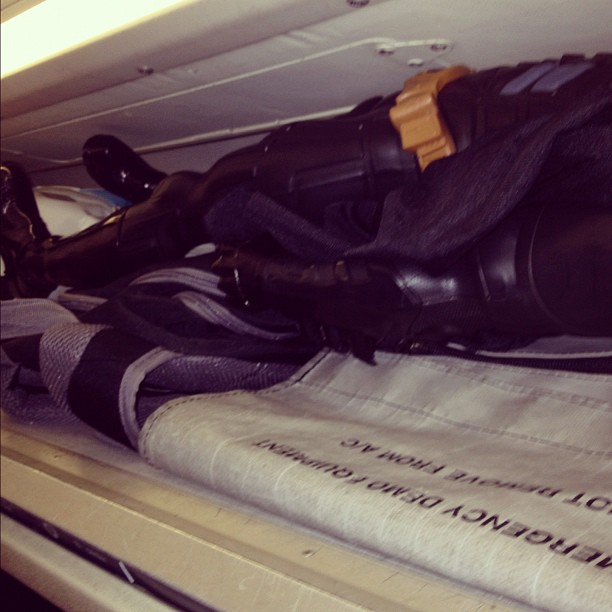 So apparently the dark knight is passed out in the overhead baggage container… (Taken with Instagram at Gate 9)