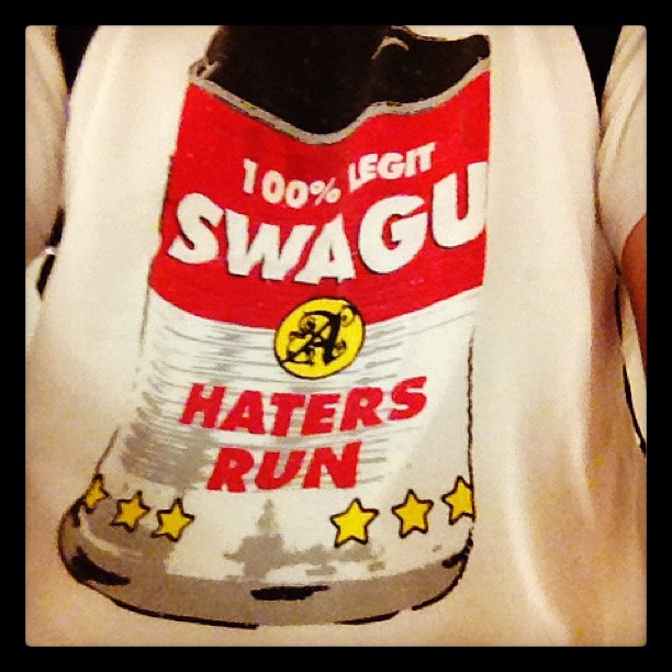 TSA lady took 1 look @ my shirt & asked me if swag-u sauce went good over penne pasta.. Wow. (Taken with Instagram at Gate C4)