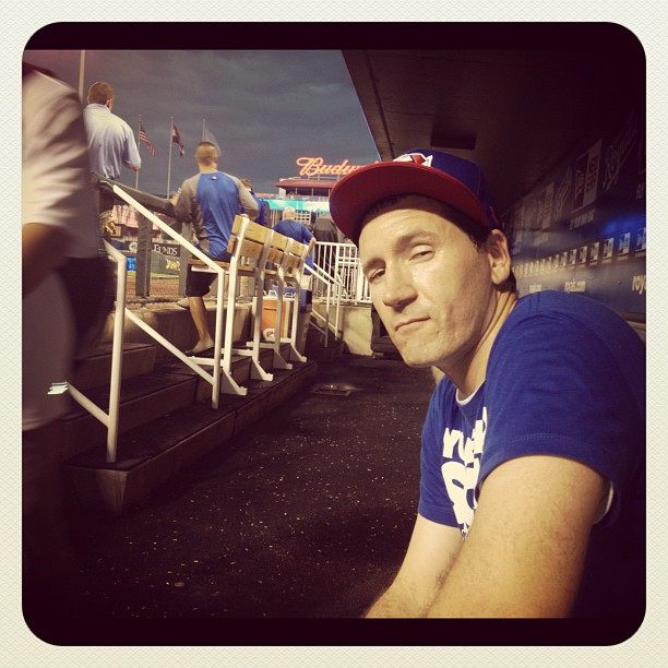 Sitting in kc royals dugout wishing I had sesame seeds to spit out on the floor.. (Taken with Instagram at Kauffman Stadium)