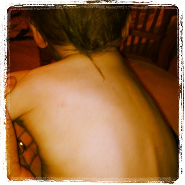 """We've never cut my 11/2 yr olds hair & now he's developed a natural """"rat tail"""" somehow.. Should I be concerned? Will he love all things NASCAR/Walmart/camaro? (Taken with Instagram)"""
