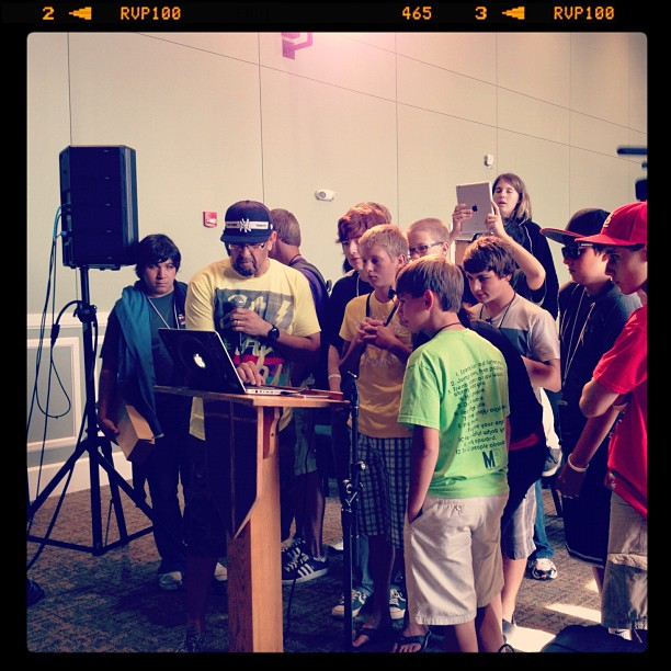 """@djofficialdj showing kids @campelectric where the """"dub step"""" button is on his pc laptop (Taken with Instagram at McClurkan Building)"""