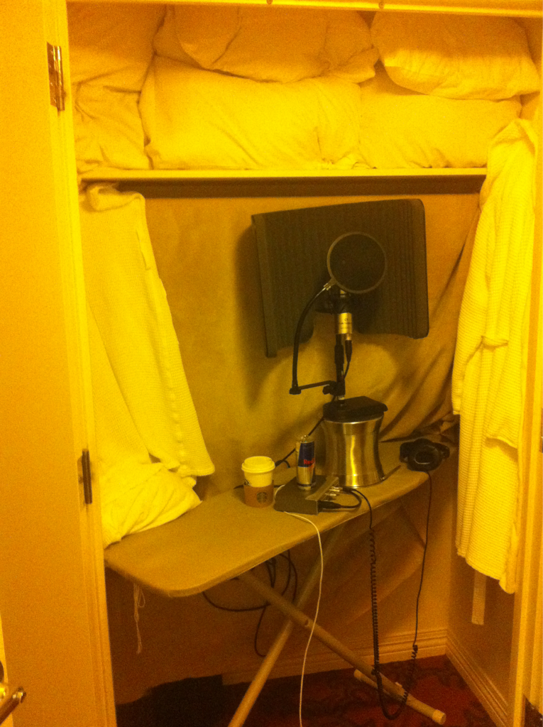 Ironing board + ice bucket + redbull +coffee + pillows + blankets + hotel room closet + 10 hrs + @marvinwinansjr = new song.