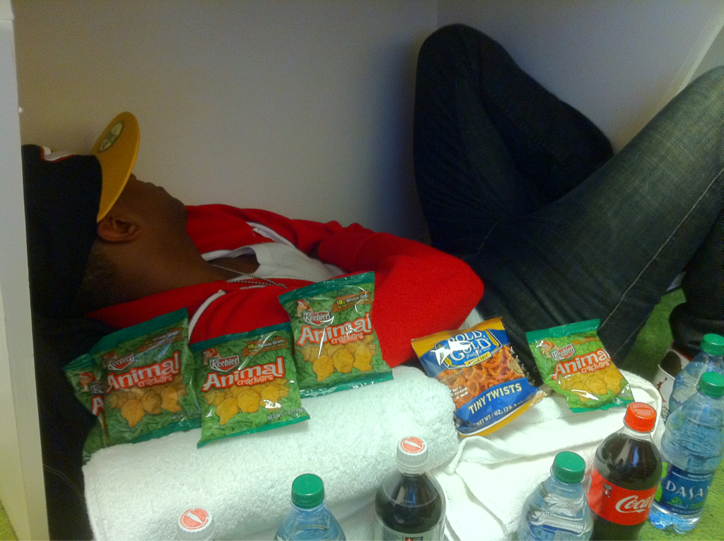 We have built a fortress of coke, water, pretzels & animal crackers around @georgemoss .. He's the perfect roomate.