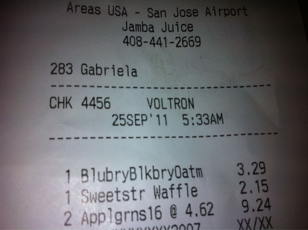 """I told the lady @ jamba juice my name was """"voltron"""".. """"one shake for mr. Voltorn??? """"voltron? """"mr. Voltron?"""""""