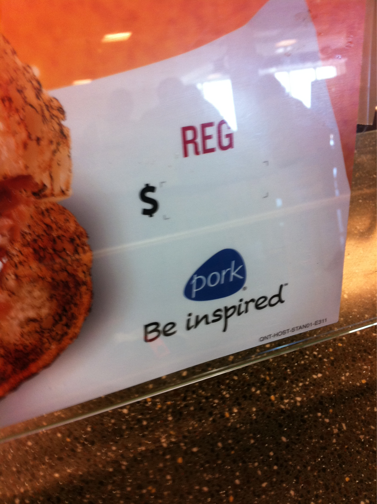 """The tagline says """"PORK .. Be inspired"""" someone tell me what is so inspiring about dead pig?"""