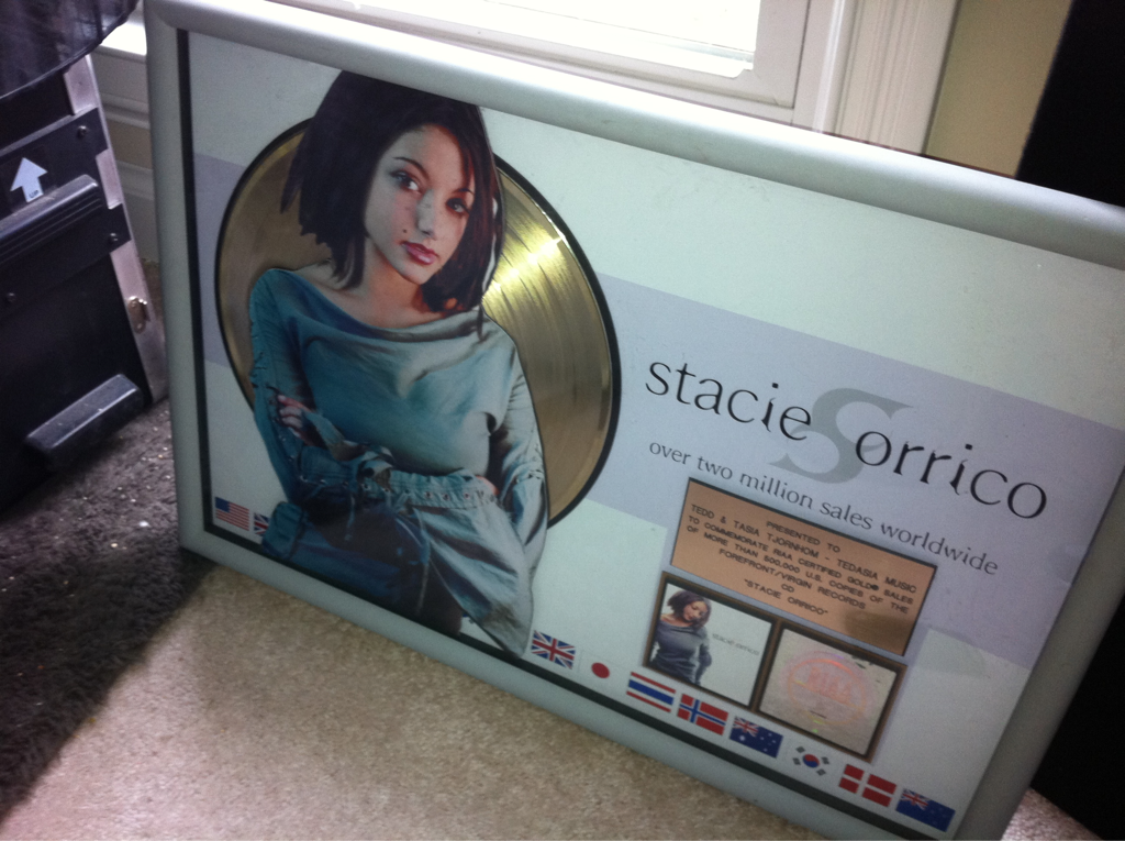 I'm trying to concentrate in the studio w/ tedd t. But Stacie orrico won't stop staring @ me..