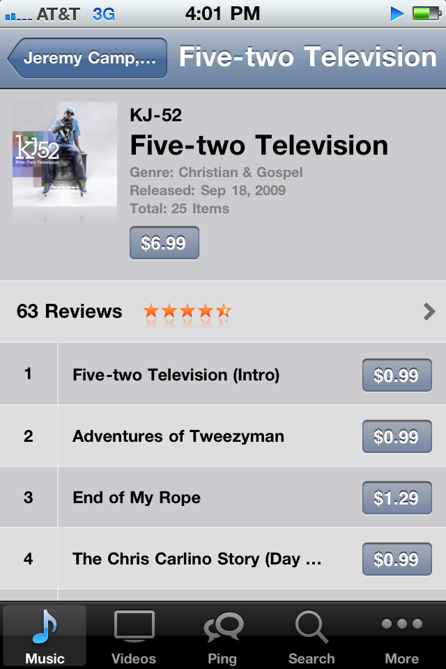 FYI 52 television is currently 6.99 on iTunes for THIS WEEK ONLY. If u buy it I will personally come to ur house and give u a high five and a cookie.