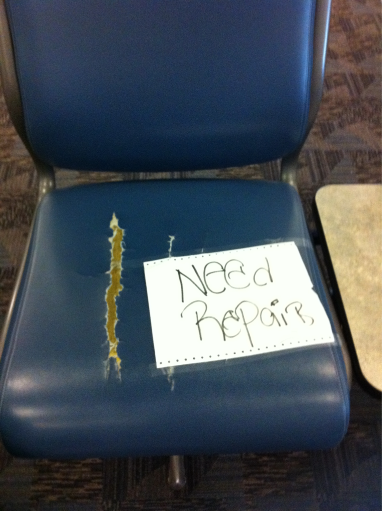 I would like to thank captain Obvious for coming to the rescue and writing this on this chair.. :p