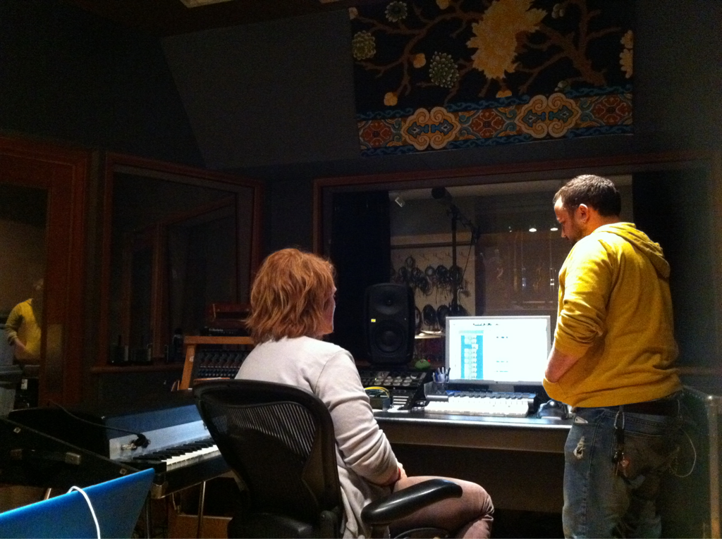 In the studio w/ some musical genius's @Aaronsprinkle and @aarongillespie of @thealmost. Stankin' awesomesauce.