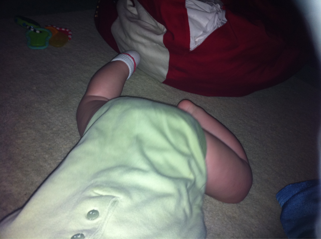 My 6 month old's scooting is similar to a snail: he's about as fast and leaves a trail of slime (drool) behind him…