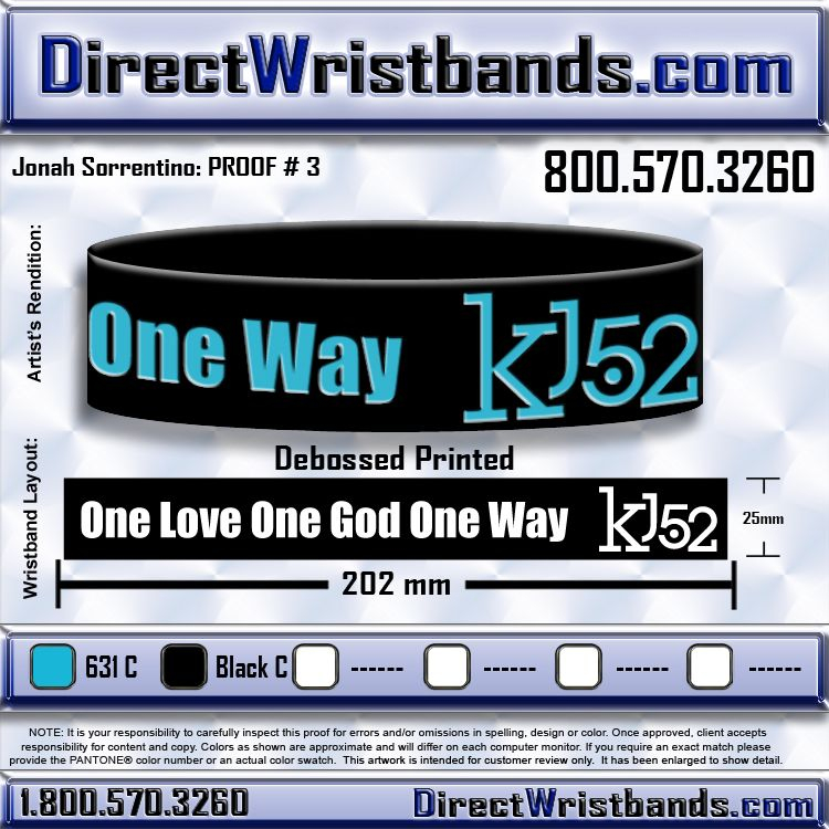 Please comment! What about this color combo of black wristband blue lettering?