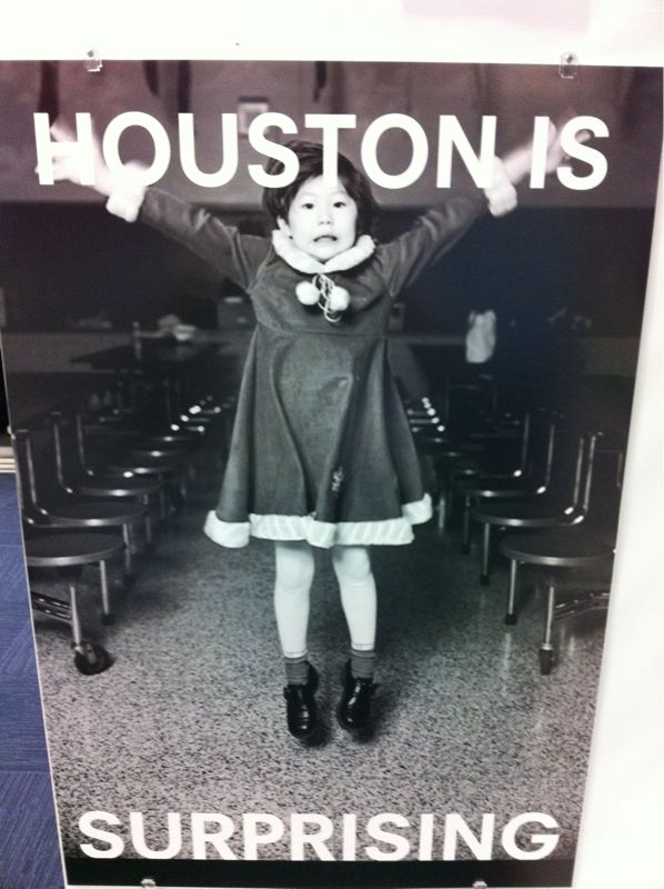 "If I saw this girl jumping out to attack me I'd say ""Houston is out to get me.."" not what the pic says.."