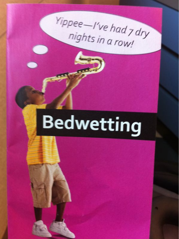 I don't know any kid that celebrates not bedwetting w/ a saxophone solo (see pic)