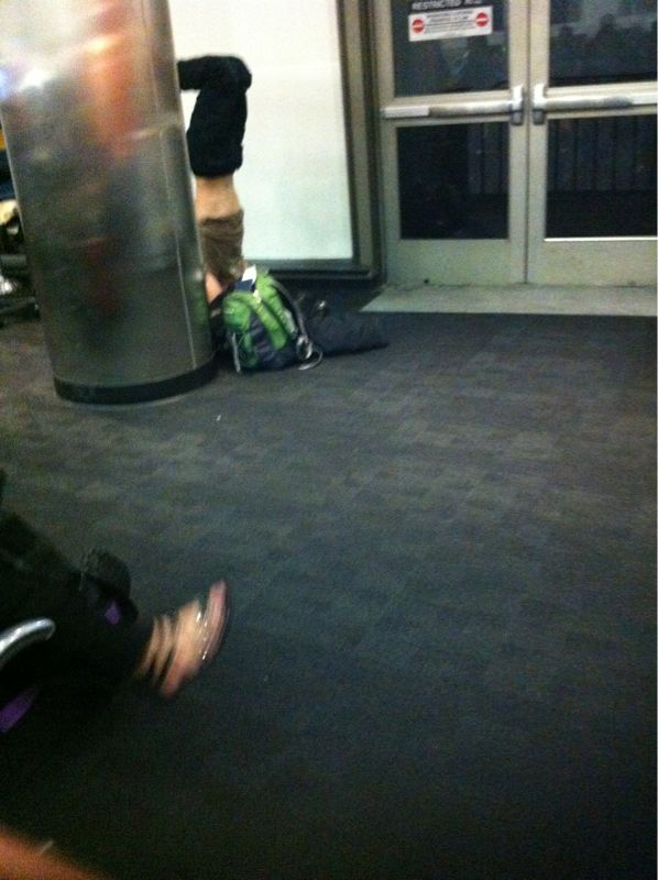 Homie was in the corner doing hand/headstands waiting for the airport shuttle. Only in LA would u see this..