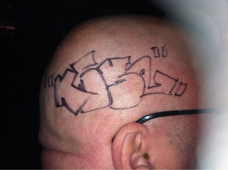 Ummm yes I really did this w/ a sharpie to a guys bald head tonight..