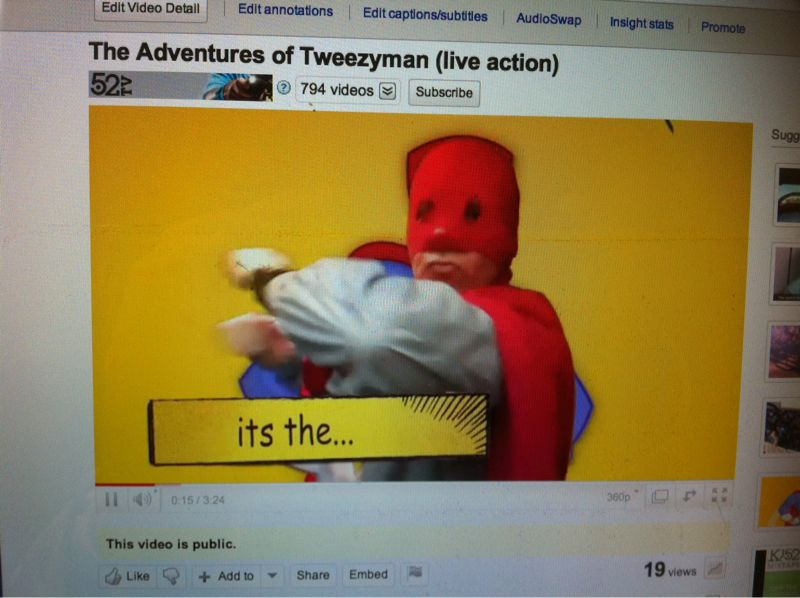 """Adventures of tweezyman"" cartoon/live action music video now up @ www.YouTube.com/52television"