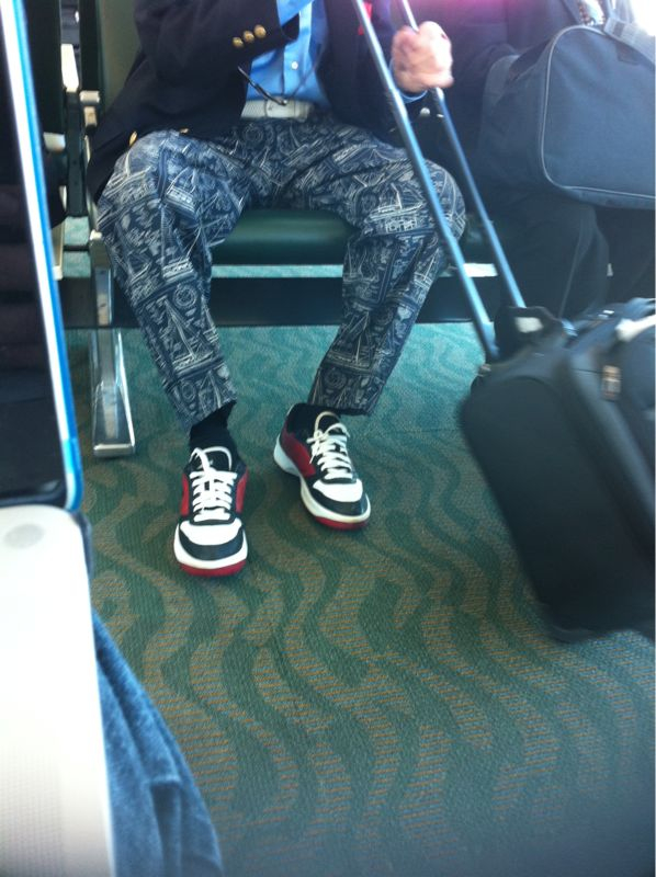 I would totally wear this old guys nautical pants/Nikes/sport coat combo to a show/golf course/barmitzah/quincinera.